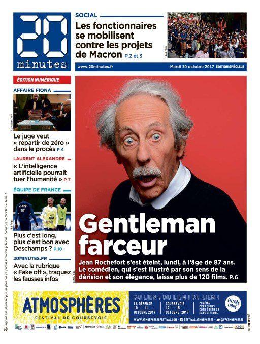 Hommage à Jean Rochefort en Une des quotidiens ce mardi.