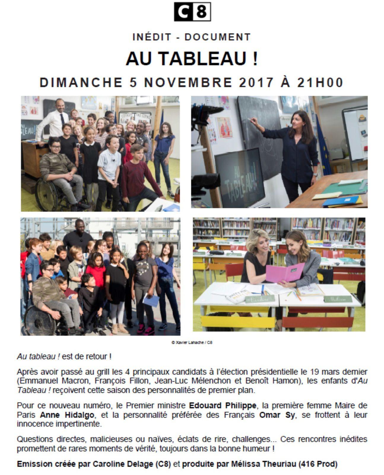Au tableau le 5 novembre sur C8, avec Edouard Philippe, Anne Hidalgo et Omar Sy.