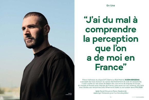Entretien avec Karim Benzema dans l'hebdomadaire Les Inrocks.