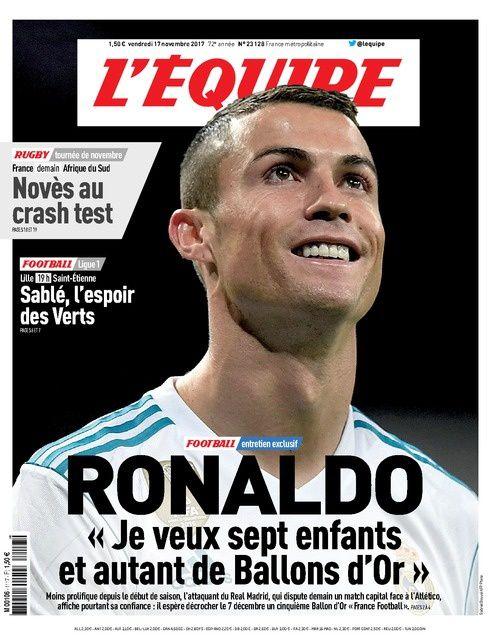 Ronaldo dans L'Equipe : « Mon rêve, c'est le 5ème Ballon d'Or. Et, l'an prochain, il y en aura un autre à aller chercher. »