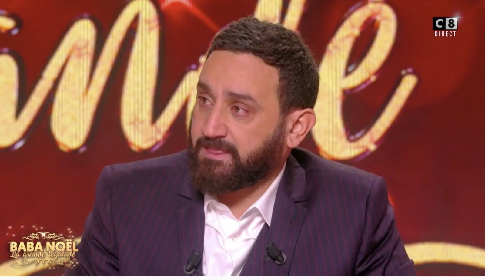 Emotion de Cyril Hanouna face à la surprise de Vincent Vinel lors de La grande régalade.