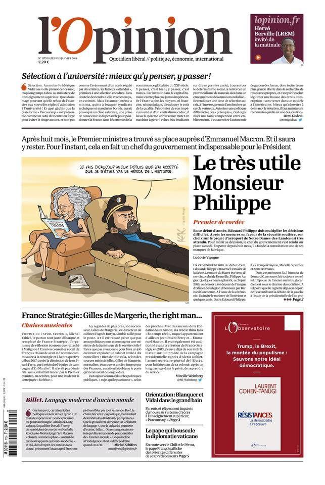 La Une des quotidiens nationaux ce lundi 15 janvier.