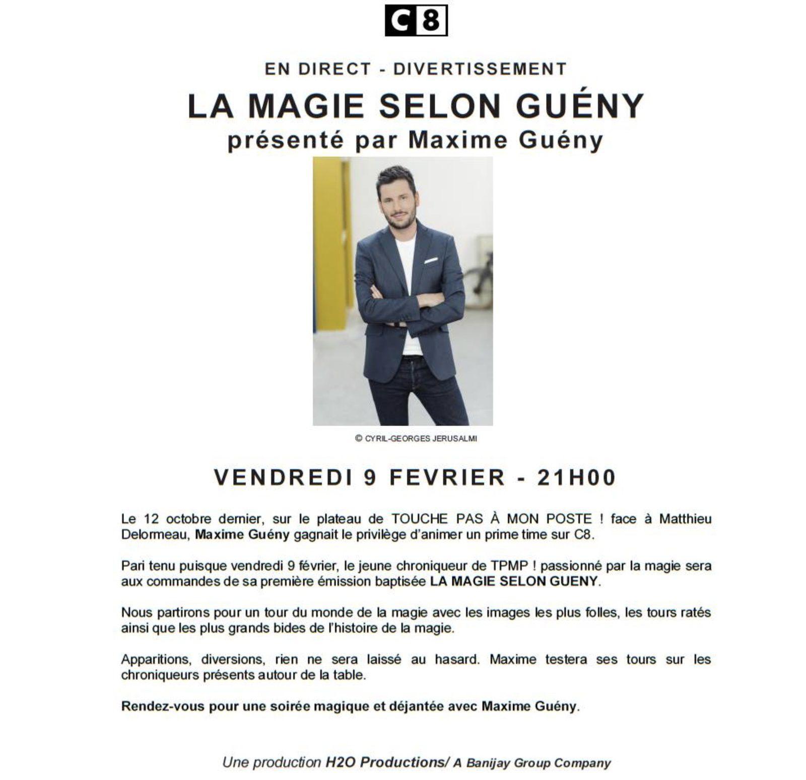 Premier Prime pour Maxime Guény sur C8, le 9 février.