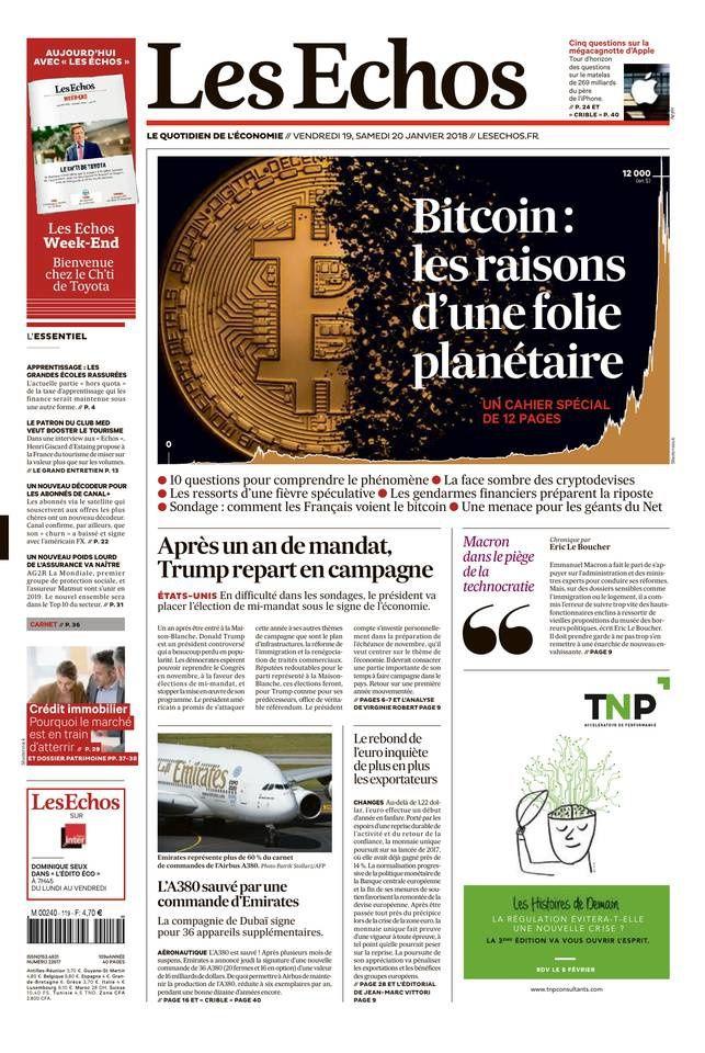 La Une des quotidiens nationaux ce vendredi 19 janvier.