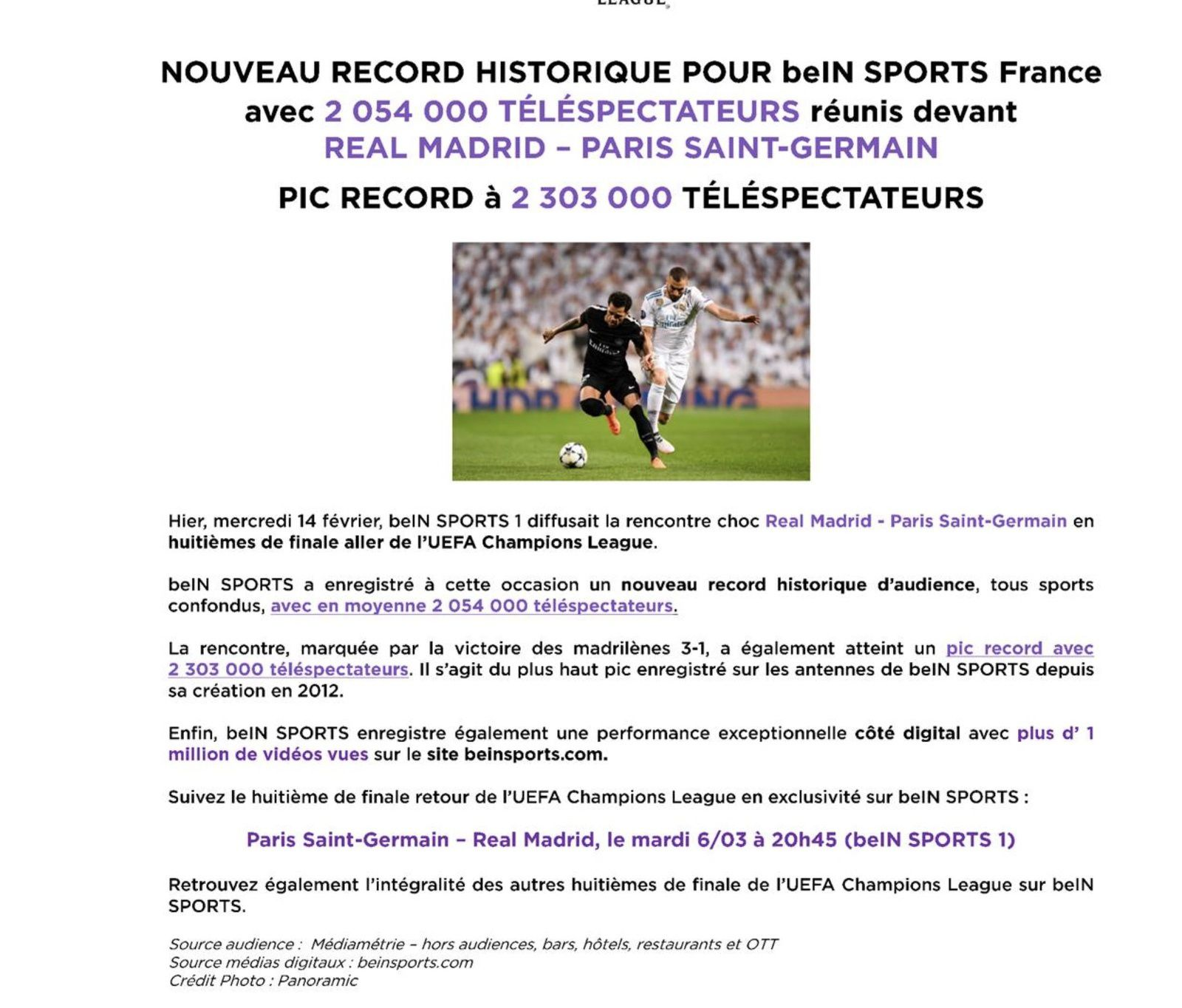 Sans surprise, un record d'audience pour beiN Sports avec Real - PSG.