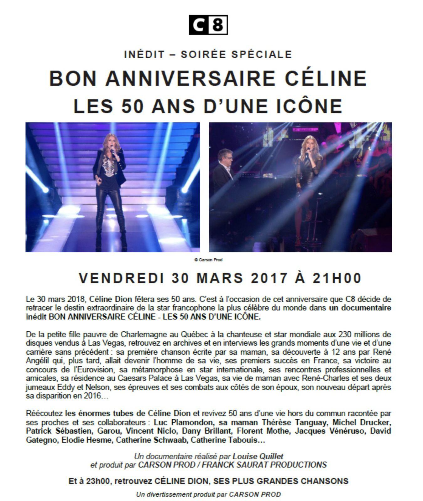 Soirée Céline Dion le vendredi 30 mars sur C8.