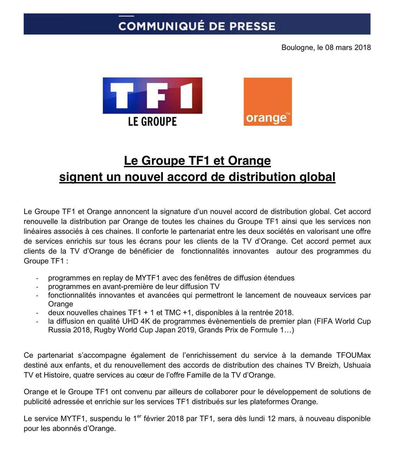Le Groupe TF1 et Orange signent un nouvel accord de distribution global (communiqué).