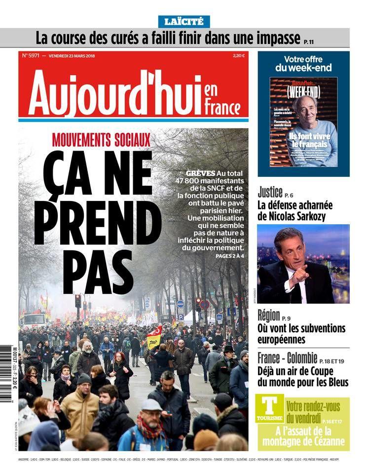 La UNE de la presse quotidienne nationale ce 23 mars.