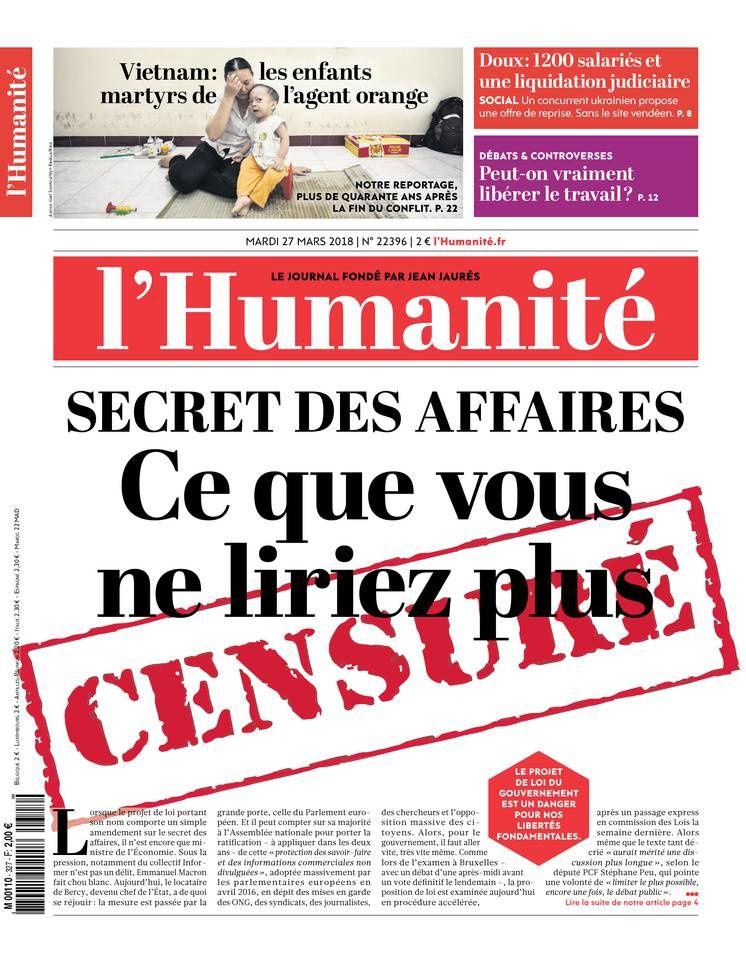 La Une des quotidiens nationaux ce mardi 27 mars.