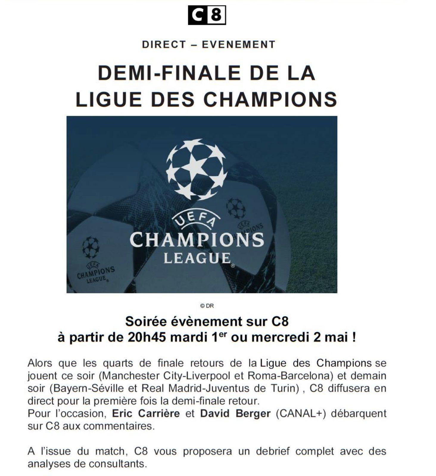 Foot, Ligue des champions en clair le 1 ou 2 mai sur C8.