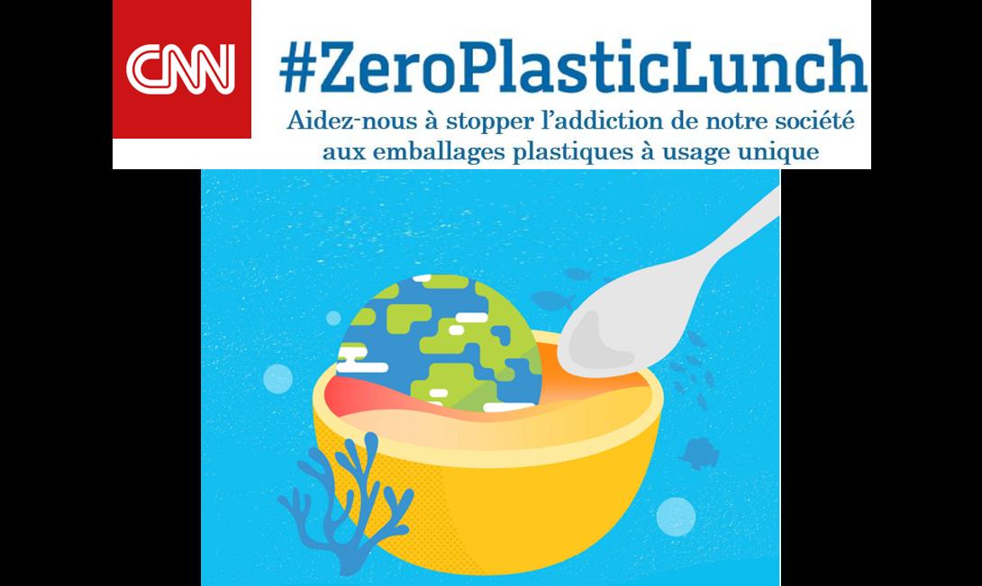 CNN lance la campagne #ZeroPlasticLunch pour lutter contre la pollution des océans.