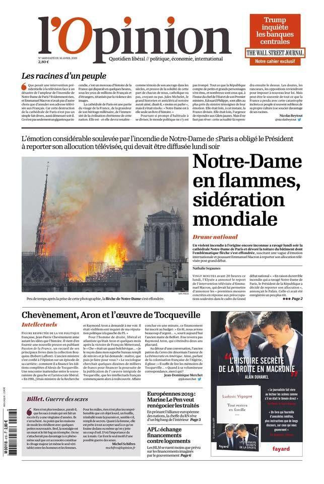 La UNE des quotidiens nationaux et régionaux ce mardi 16 avril (spécial Notre Dame).