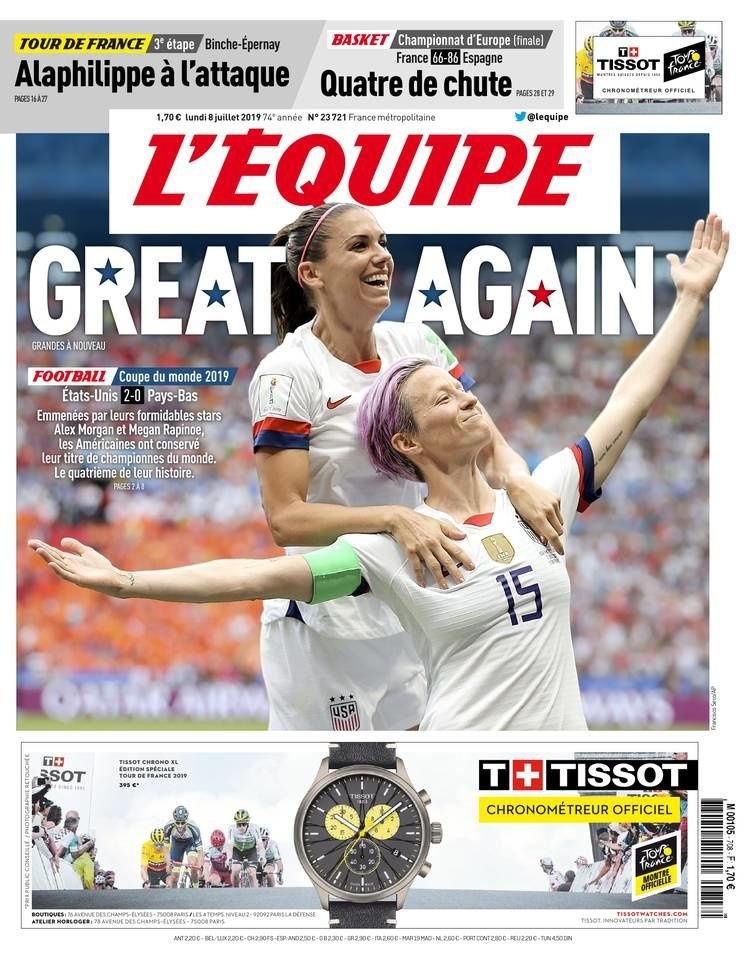 Excellente audience sur TF1 et C+ pour la finale de la coupe du monde féminine de football.