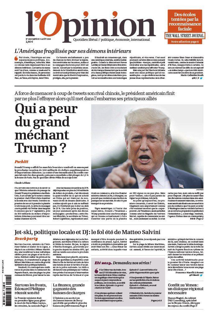 La UNE des quotidiens nationaux ce lundi 5 août 2019.