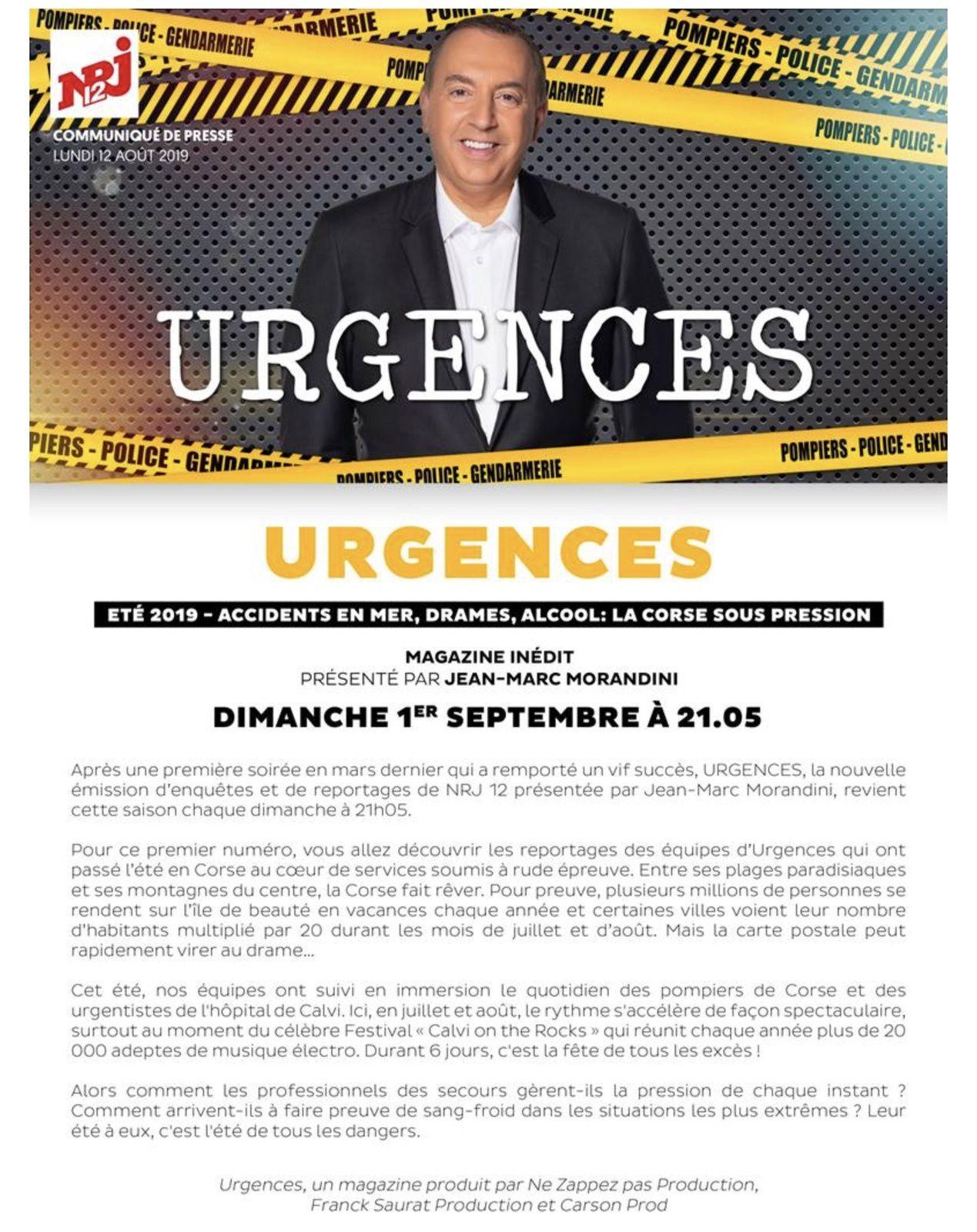 Nouvelle saison d'Urgences, programme présenté par Morandini, dès le 1er septembre sur NRJ12.