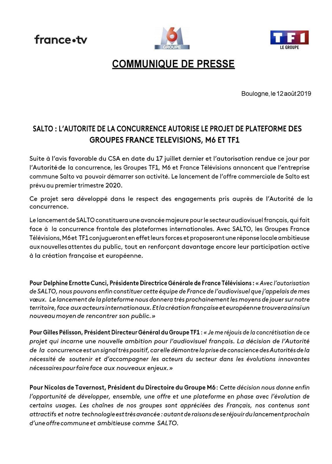 L'Autorité de la concurrence autorise sous conditions la création de la plateforme Salto par TF1, France Télévisions et M6.