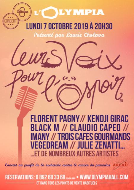 Nouveau concert caritatif Leurs Voix pour l'Espoir, le 7 octobre avec Pagny, Kendji, Imany...