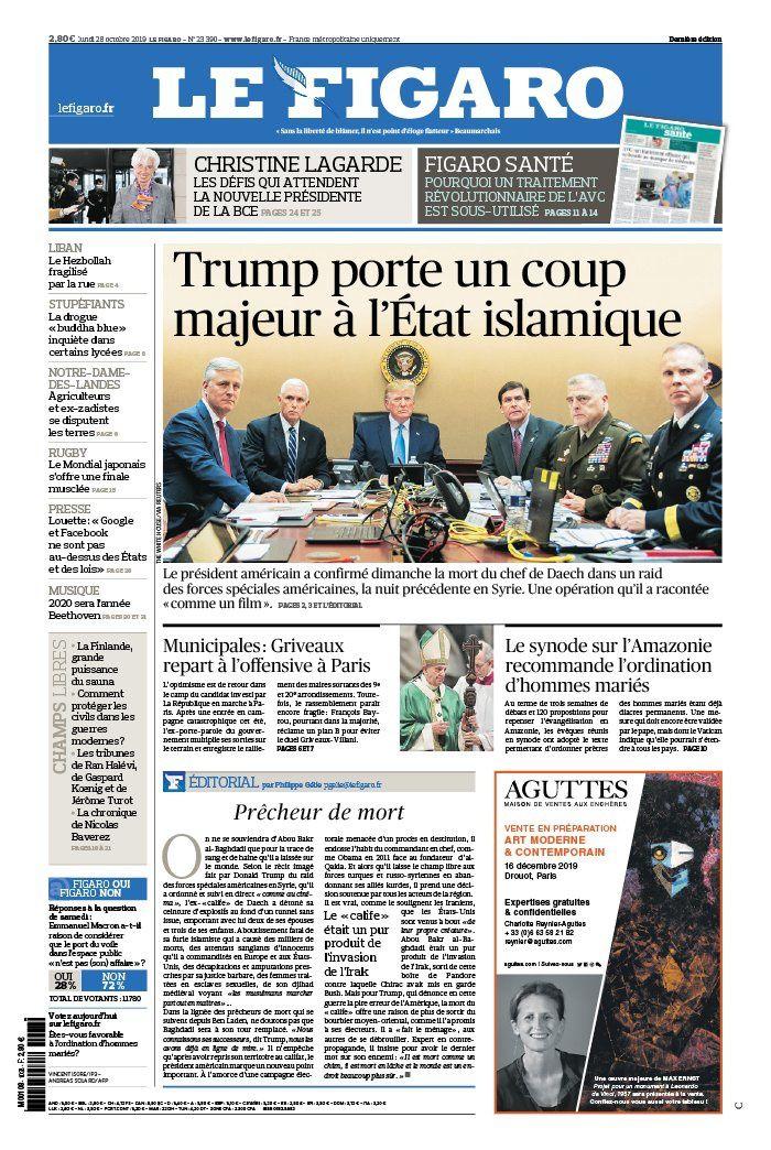 La UNE des quotidiens nationaux ce lundi 28 octobre.
