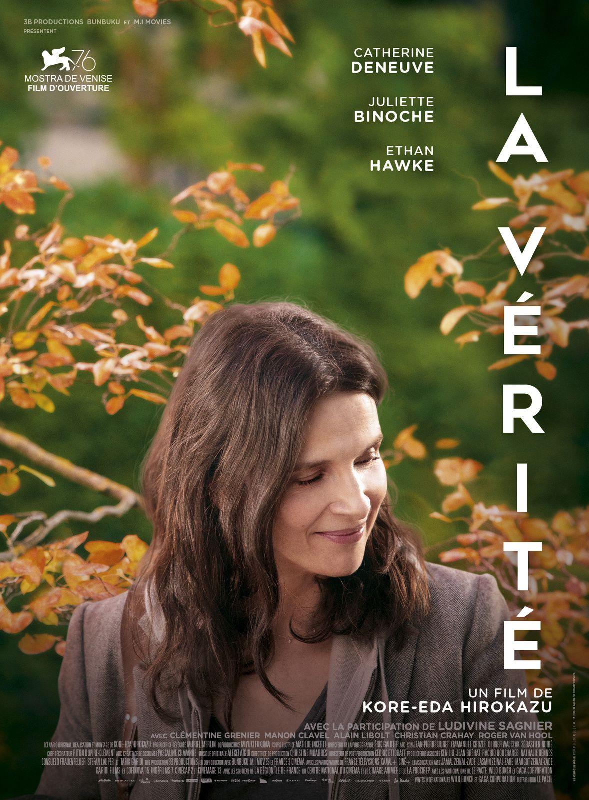 Dans les salles dès ce 25 décembre, La vérité, film avec Catherine Deneuve, Juliette Binoche et Ethan Hawke.