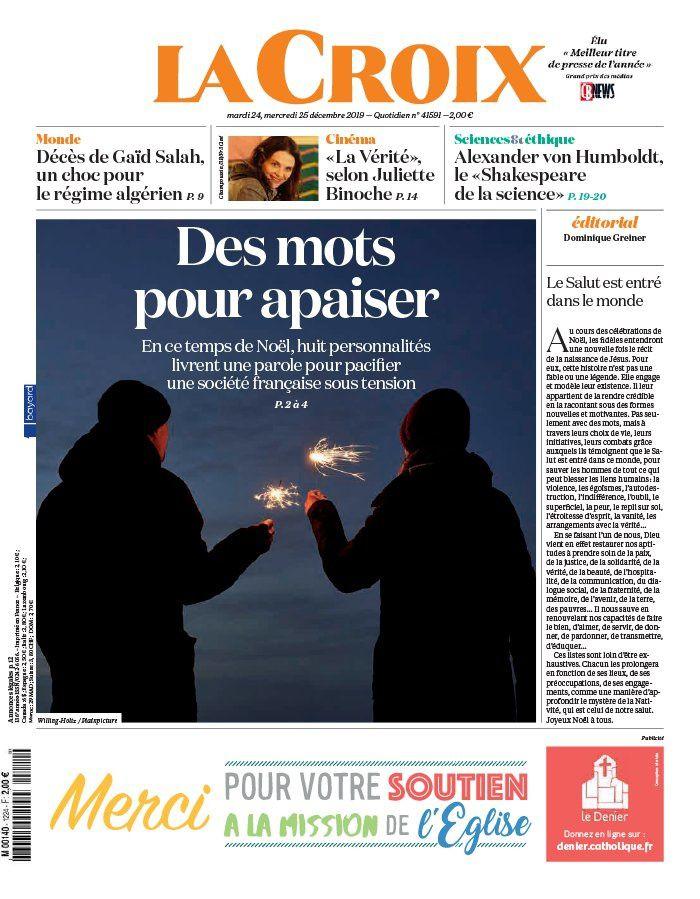 La une des quotidiens nationaux ce mardi 24 décembre.