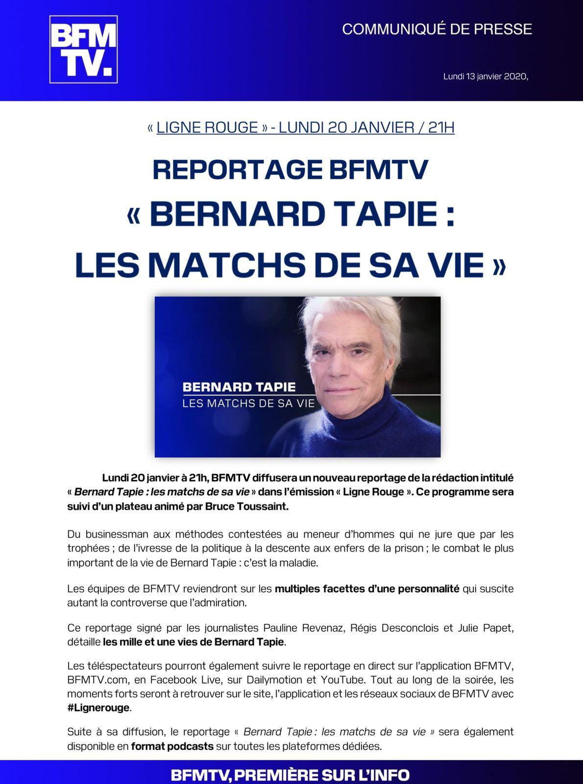 Bernard Tapie, les matchs de sa vie lundi 20 janvier sur BFMTV (document puis débat).