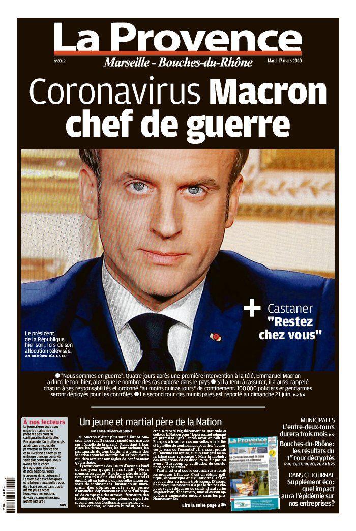La une de la presse quotidienne régionale au lendemain de l'annonce historique d'Emmanuel Macron.