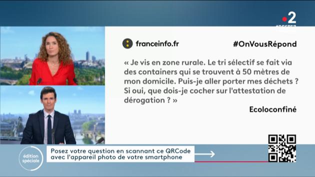 France Télévisions facilite l'accès au questionnaire #OnVousRépond sur le mobile en utilisant le QR Code pendant les JT de France 2.