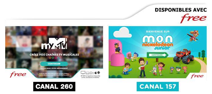 Arrivée de MY MTV et Mon NICKELODEON Junior pour tous les abonnés FREE dès vendredi.