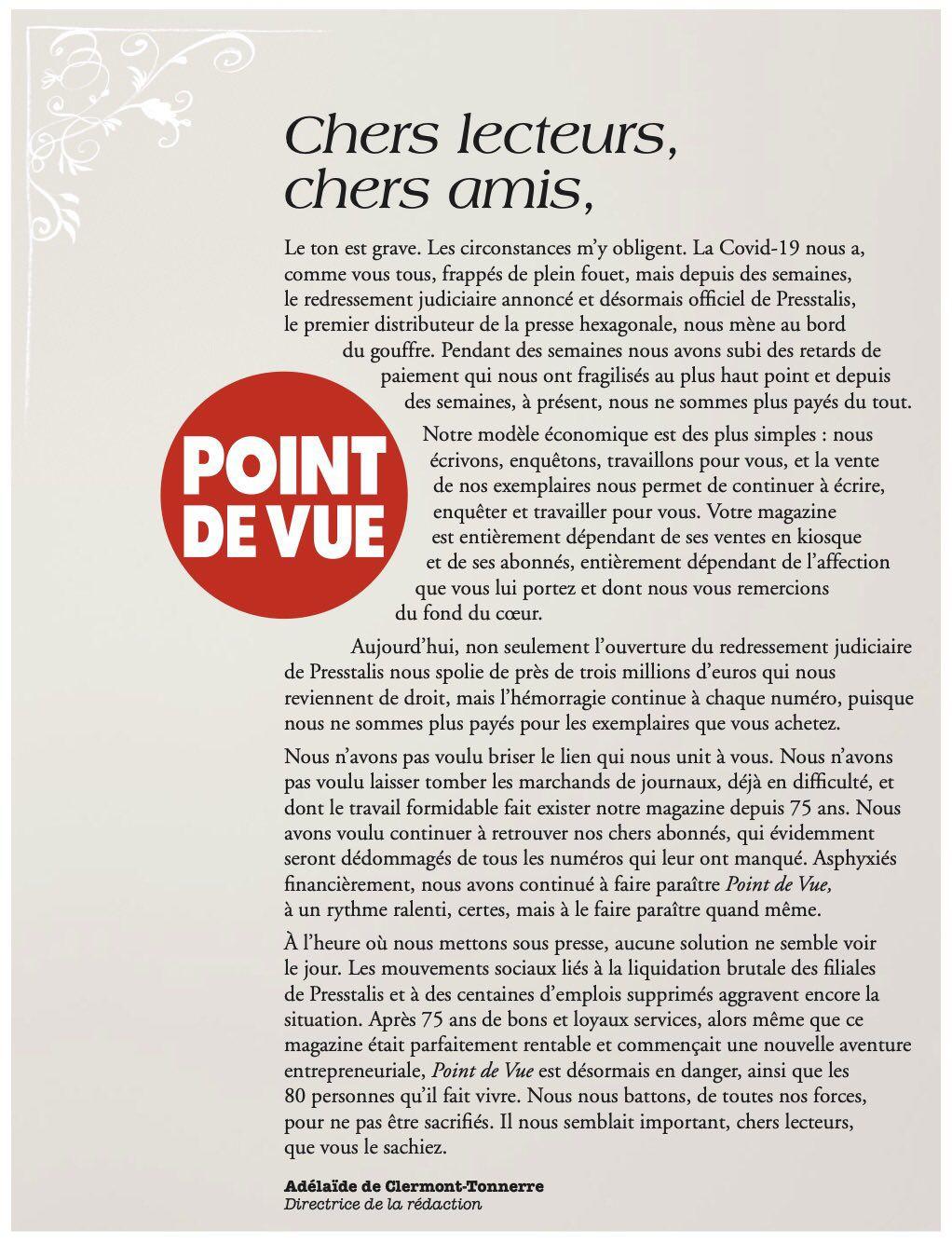 Le magazine Point de Vue lance un SOS.