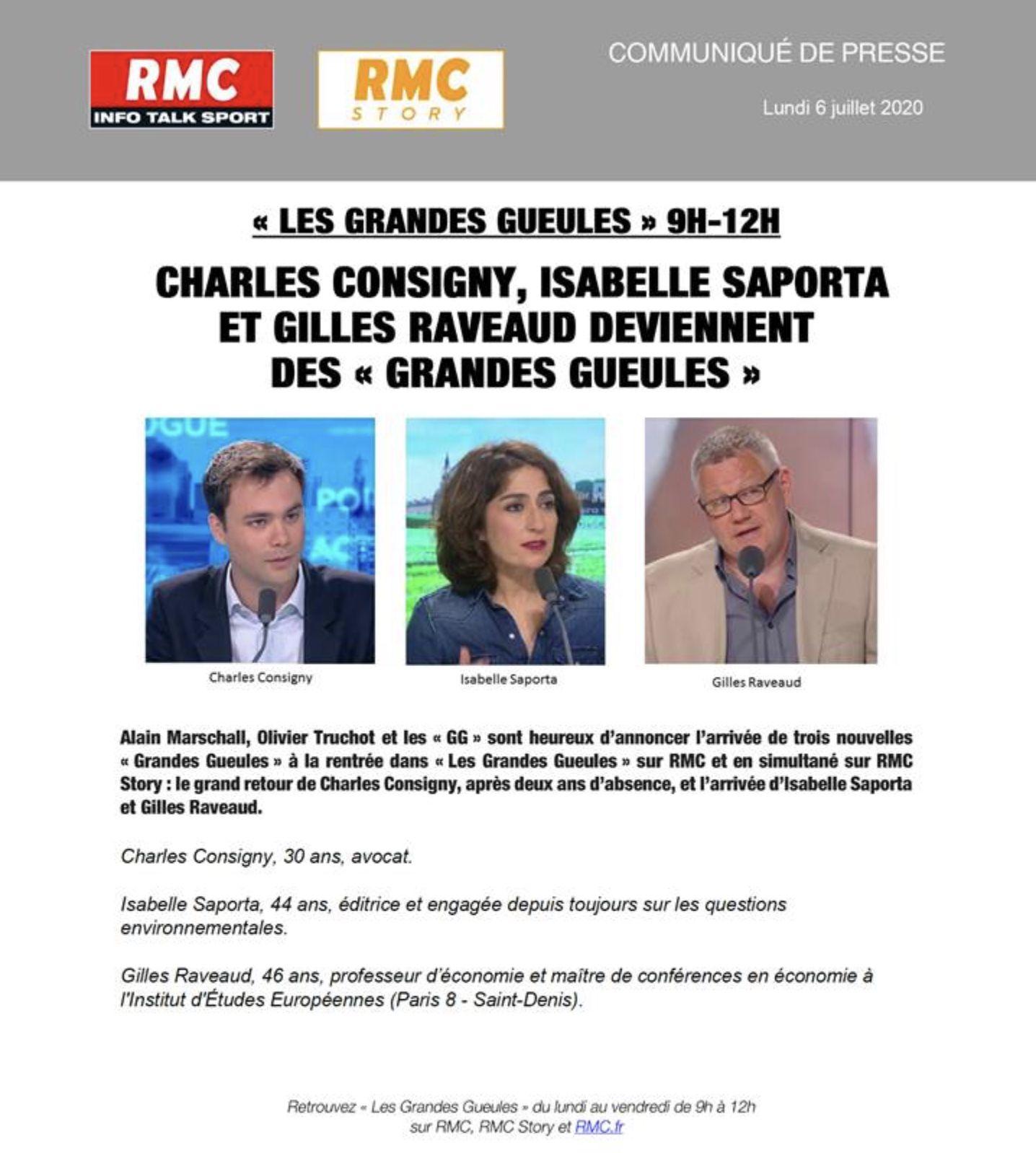 Charles Consigny de nouveau Grande Gueule de RMC la saison prochaine (de même qu'Isabelle Saporta).