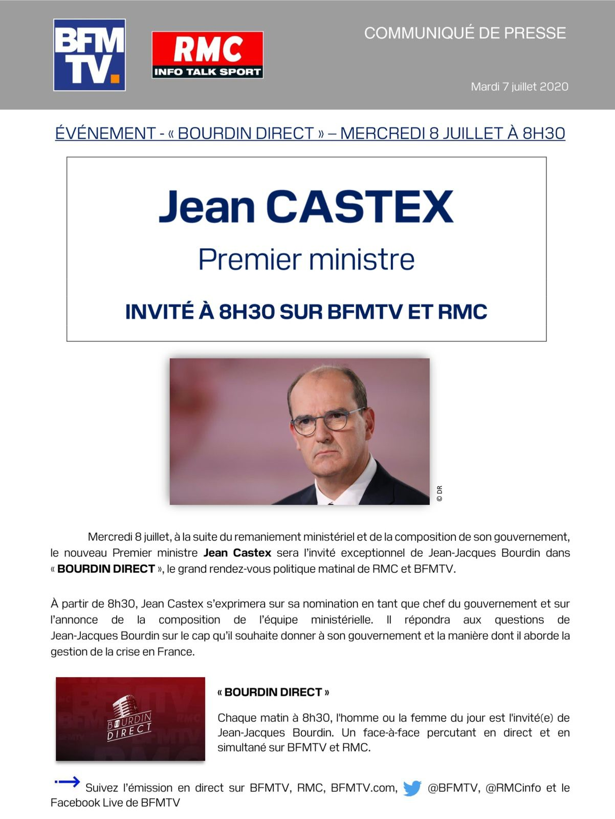 Jean Castex interrogé par Jean-Jacques Bourdin mercredi matin sur MRC et BFMTV.
