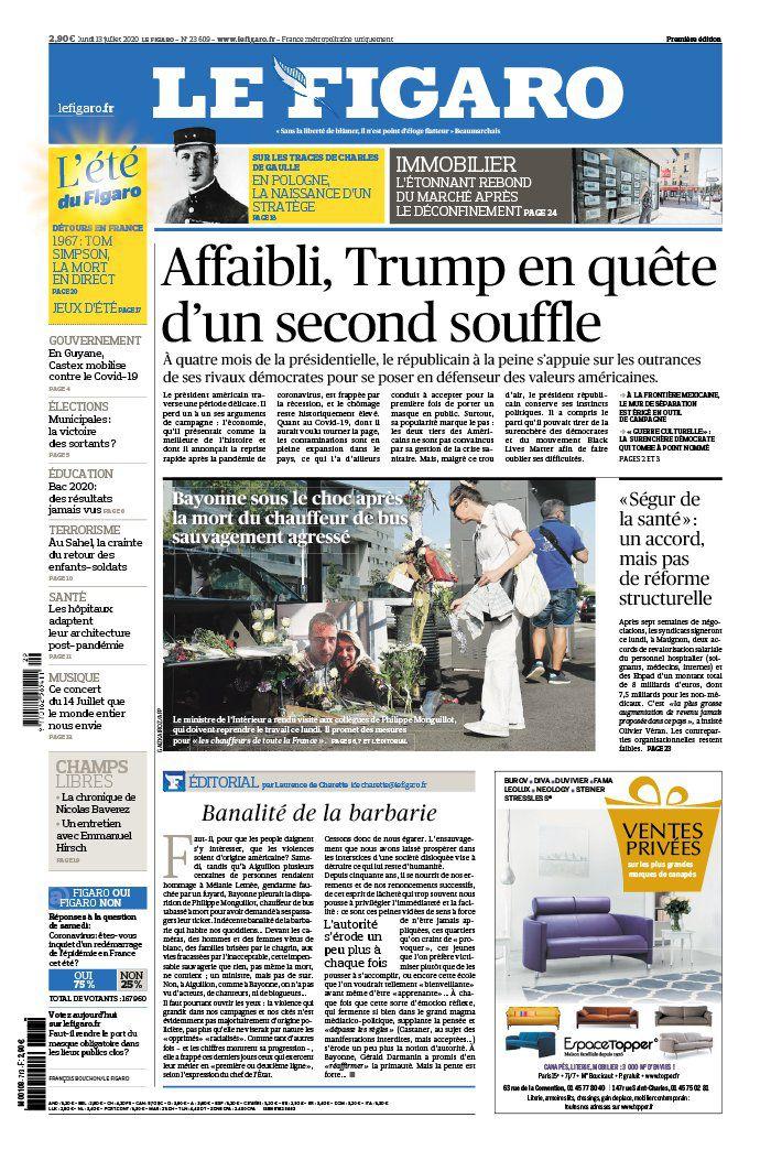 La une des quotidiens nationaux ce lundi 13 juillet.