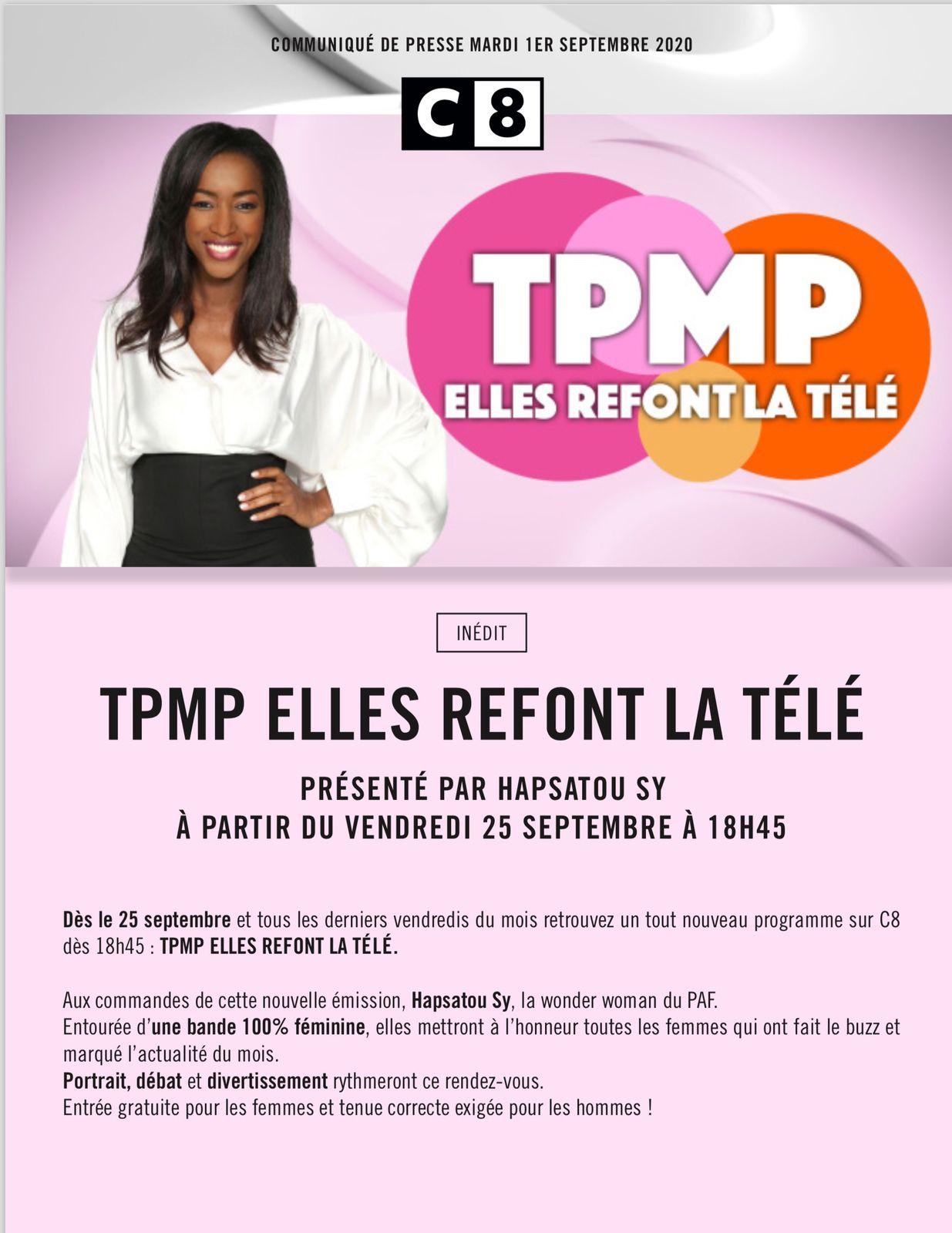 Un TPMP 100% féminin animé par Hapsatou Sy dès le vendredi 25 septembre à 18h45 sur C8.