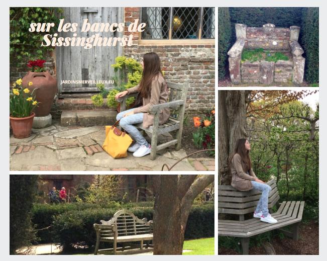 Ma fille assise dans le Sunset-coloured Cottage Garden