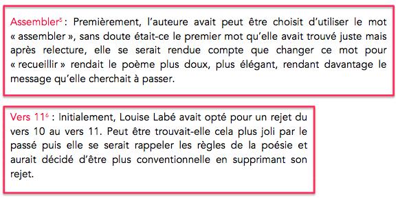Variante - Louise Labé : sonnet 4