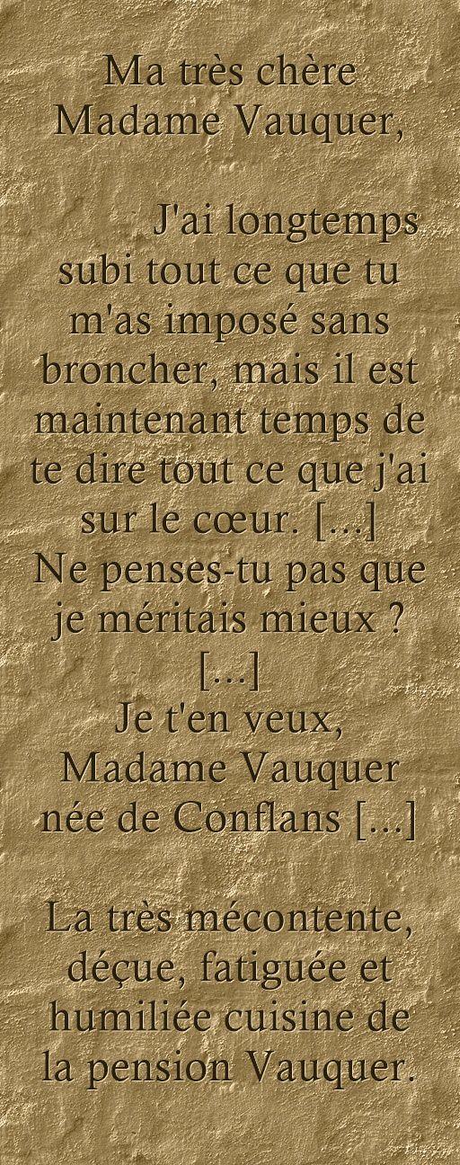 Lettre - La cuisine de Madame Vauquer lui écrit !