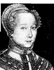 Louise Labé, portrait gravé par Pierre Woeiriot (1555), BNF