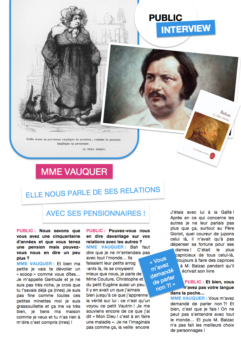 Interview people - Mme Vauquer