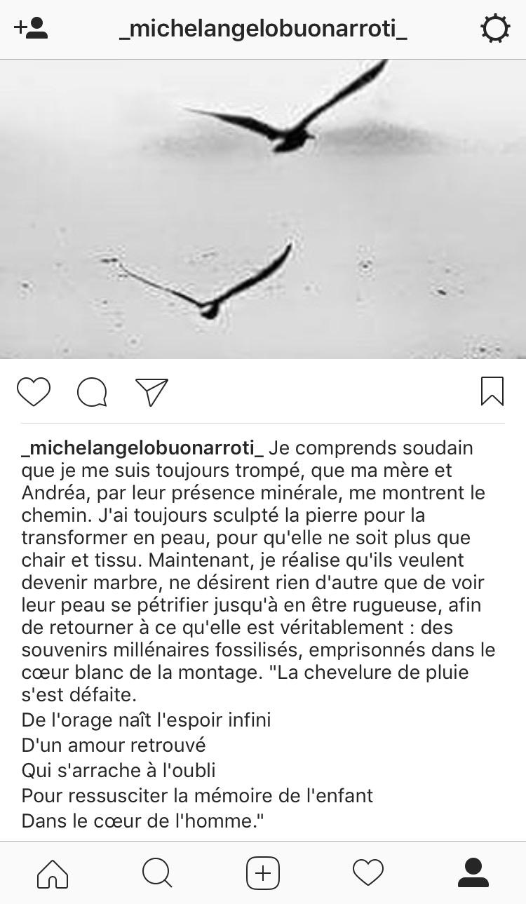 Détournement Pietra viva - Michel-Ange sur Instagram !