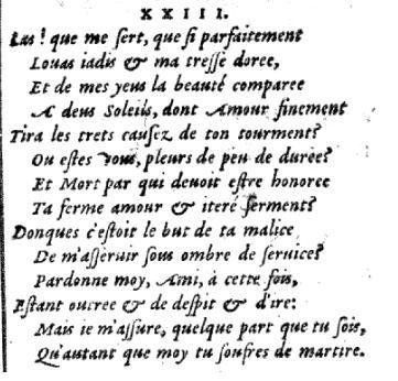 Le sonnet 23 de Louise Labé (édition Jean de Tournes 1555)