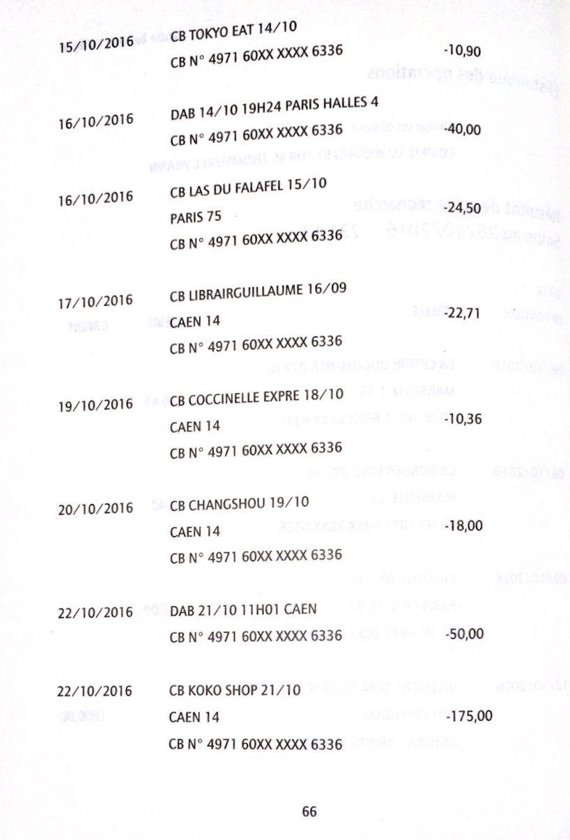 Liste des opérations sur le compte en banque de Yohann Thommerel
