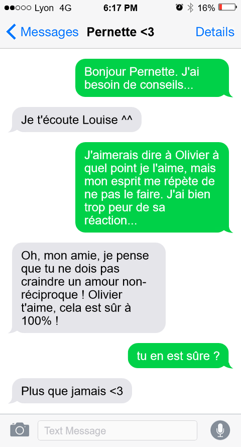 Echange de messages entre Louise et son amie Pernette du Guillet