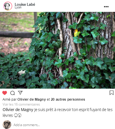 Post Instagram de Louise Labé.