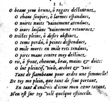 Sonnet 2 de Louise Labé, Edition Jean de Tournes 1555