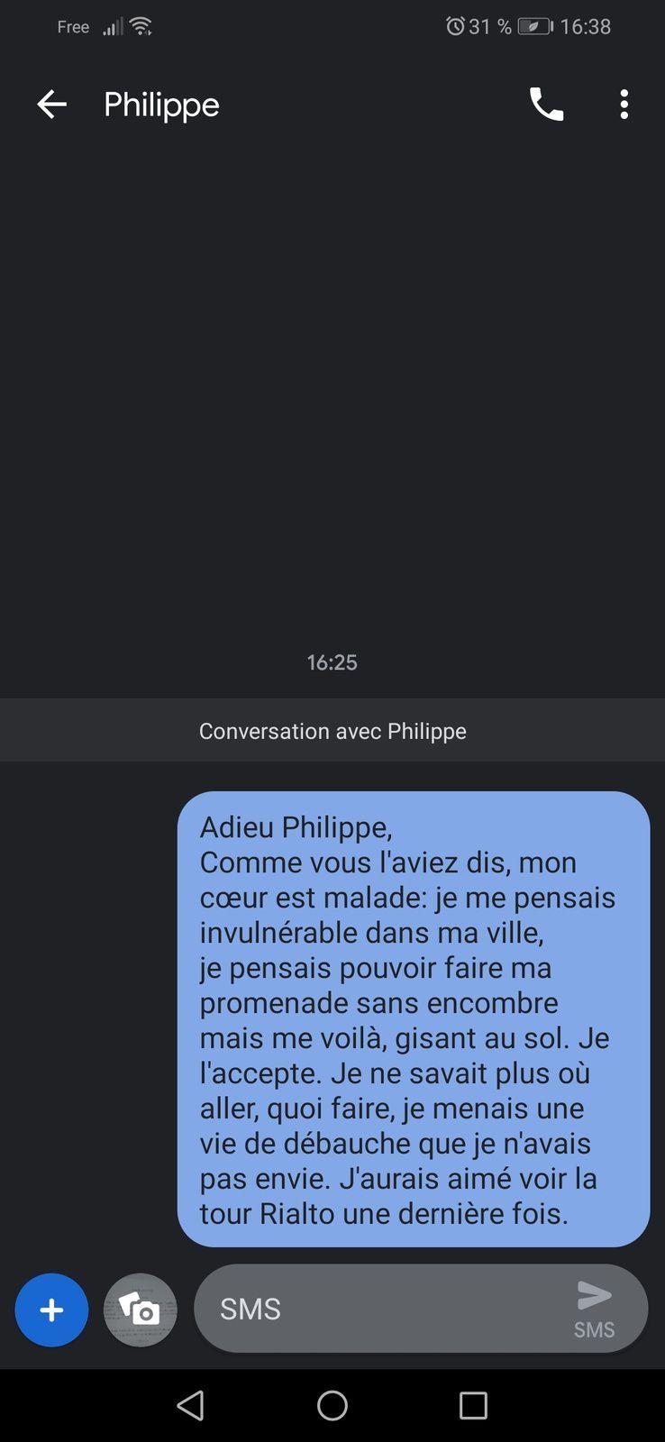 Le dernier message de Lorenzaccio, adressé à Philippe
