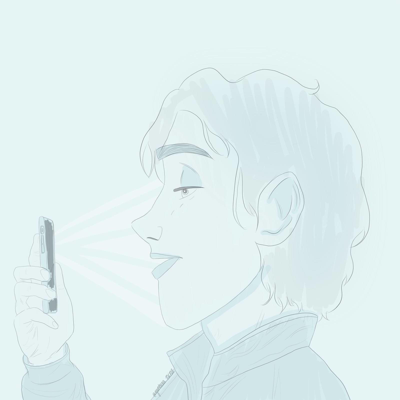 Un acteur de Lorenzaccio s'entraînant à réciter sa réplique sur son téléphone portable... (dessin que j'ai réalisé)