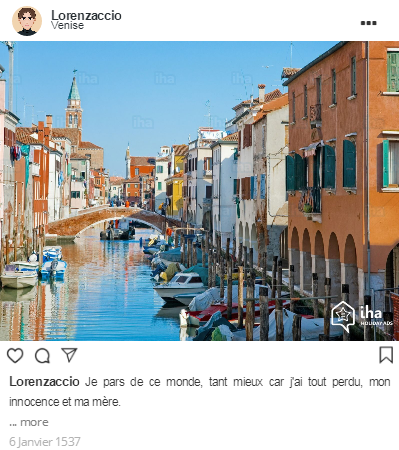 Ultime message de Lorenzaccio sur Instagram