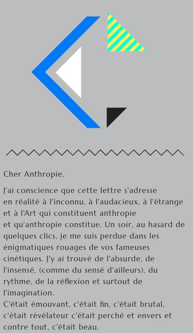 Célébration - Lettre au collectif Anthropie
