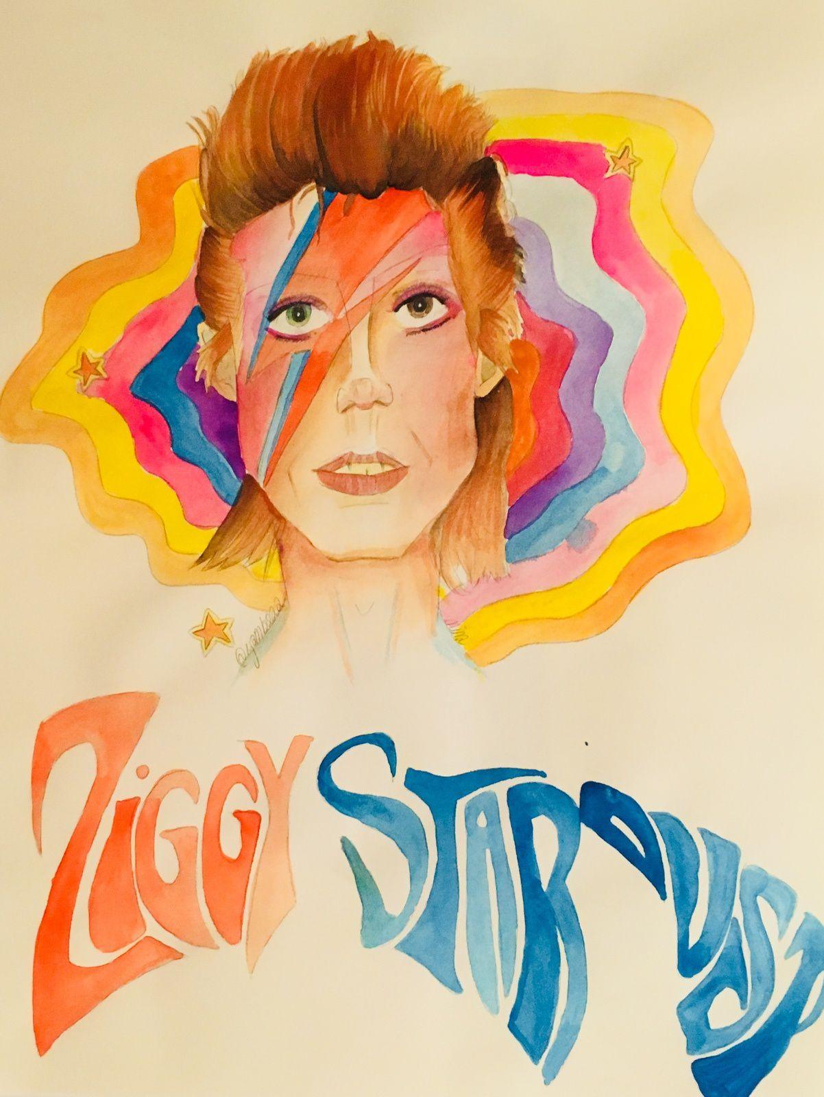 Aquarelle de David Bowie en Ziggy Stardust que j'ai réalisée