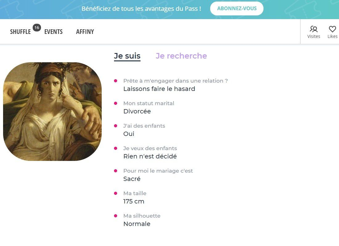 Description de Phèdre sur Meetic